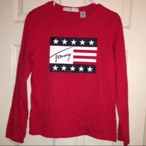 Tommy Hilfiger red long sleeved tee shirt